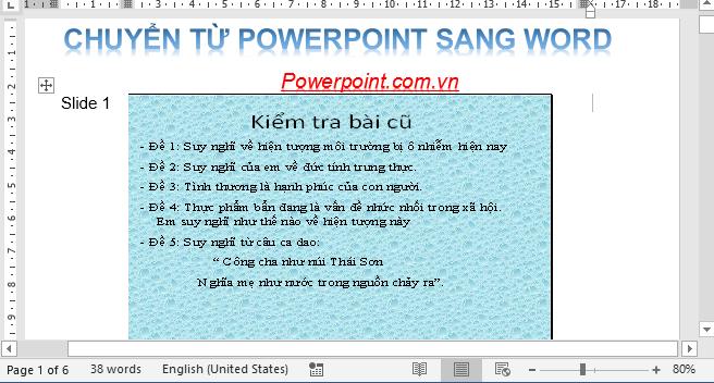Chuyển từ PowerPoint sang Word