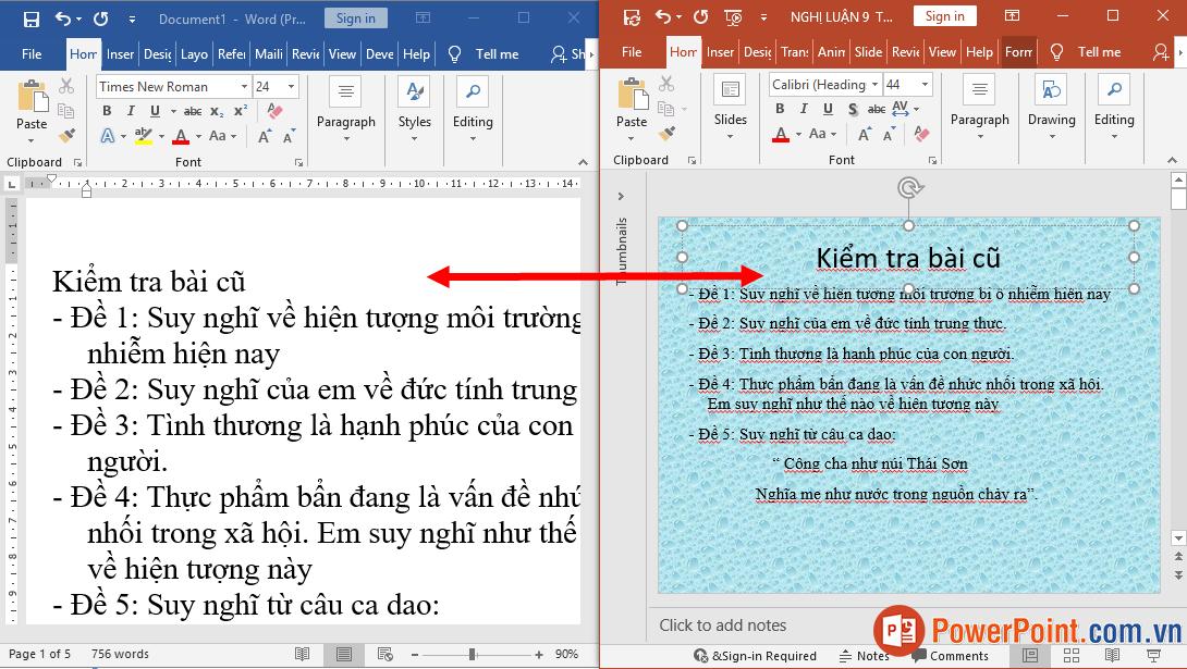 Cách chuyển, copy nội dung từ Powerpoint sang Word
