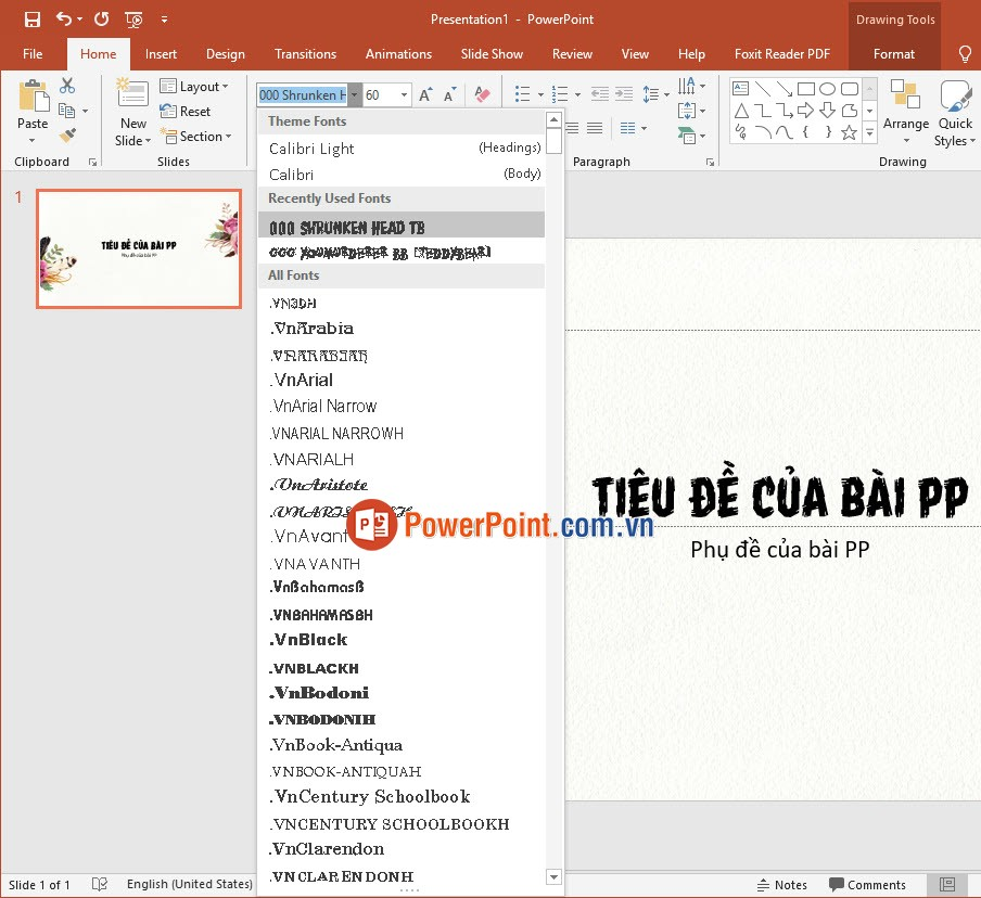Chữ trong PowerPoint
