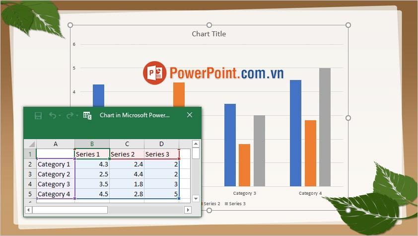 Thay đổi số liệu trong bảng Excel