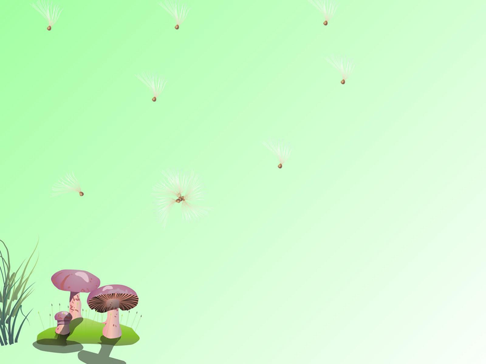 Hình nền cho PowerPoint cực đẹp có hình cây nấm ở góc