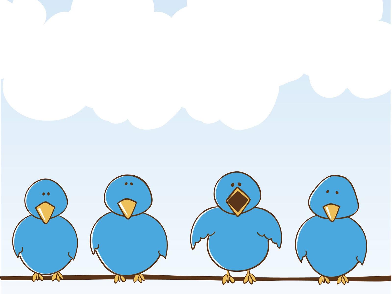 Hình nền PowerPoint 4 chú chim xanh