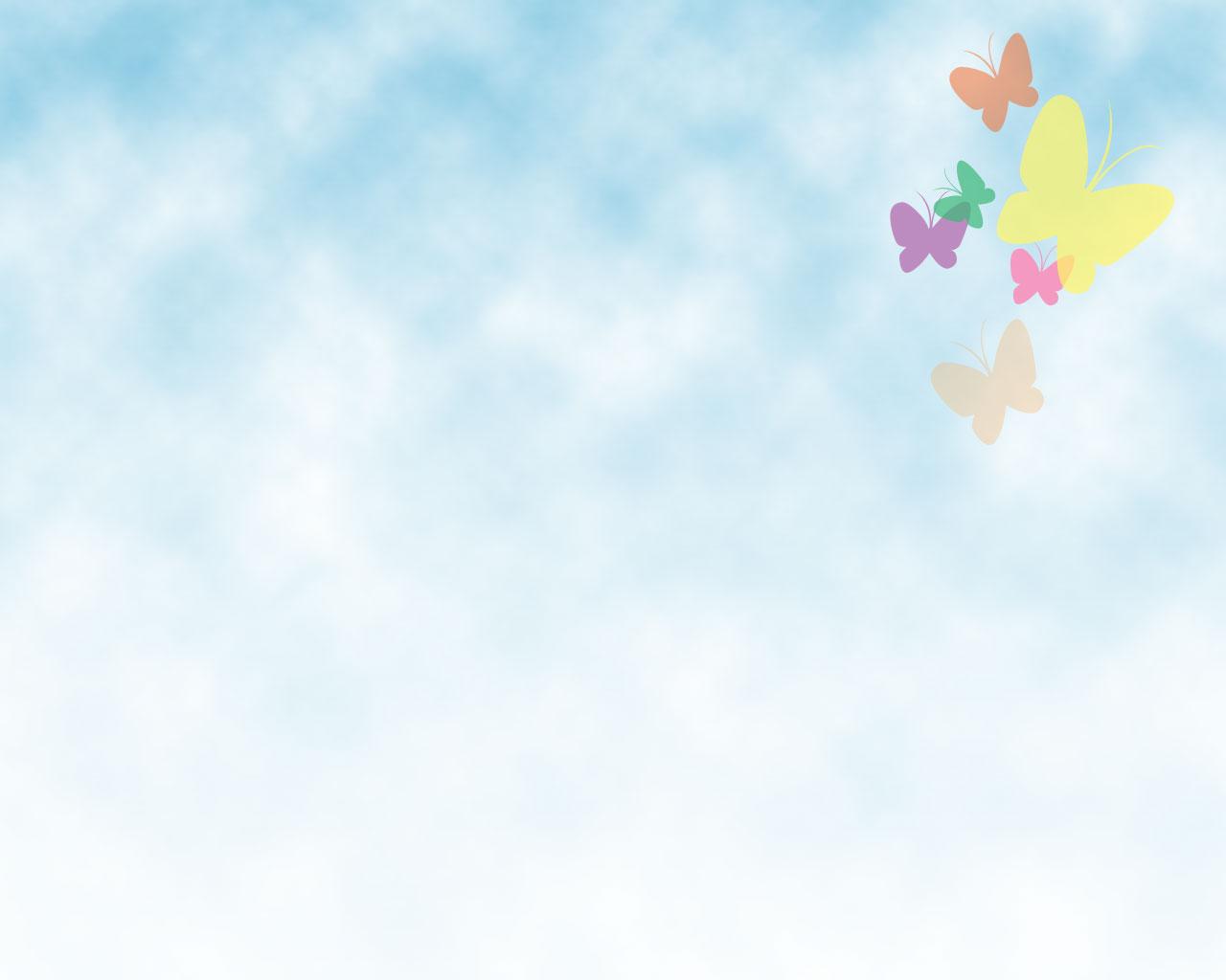 Hình nền PowerPoint cánh bướm dập dờn trên nền trời