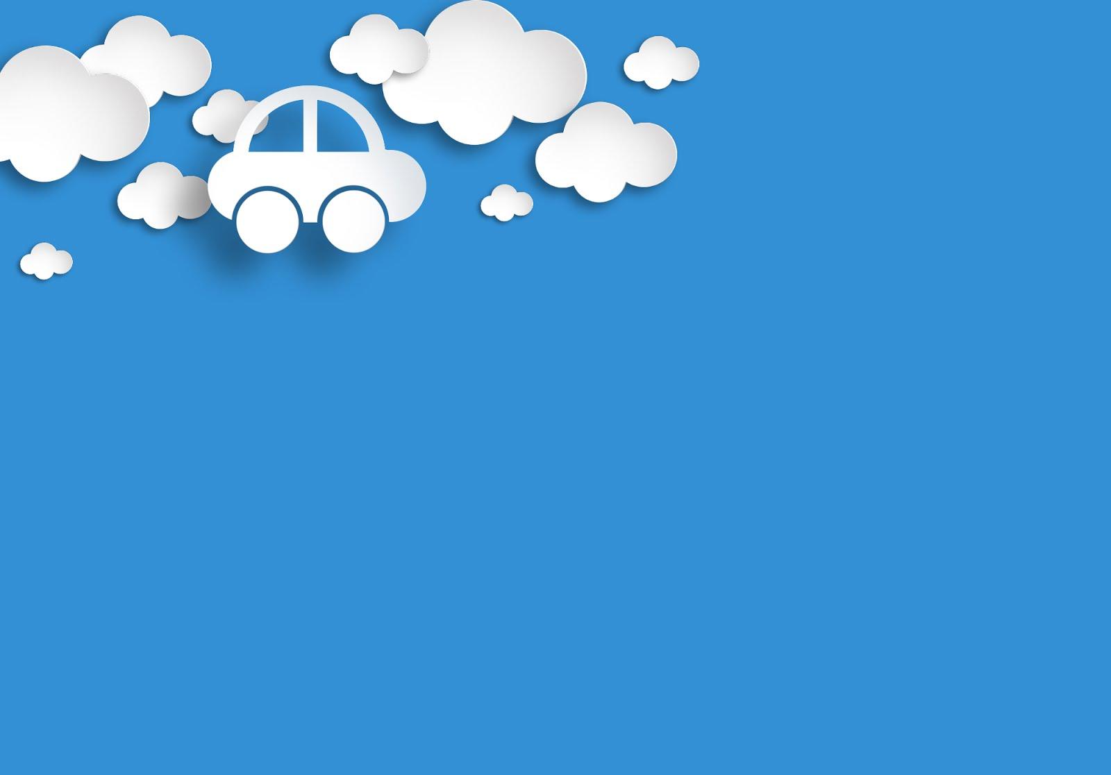 Hình nền PowerPoint chiếc ô tô nhỏ đi giữa đám mây