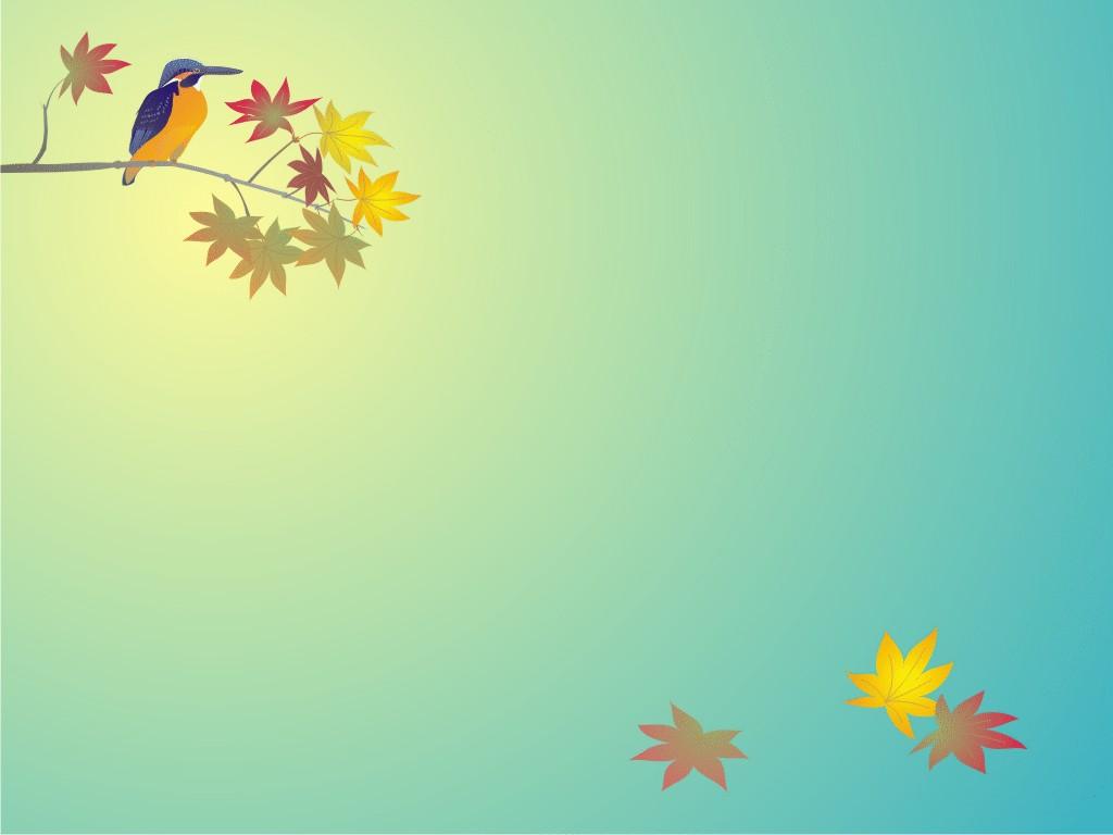 Hình nền PowerPoint chú chim đậu trên cành phong