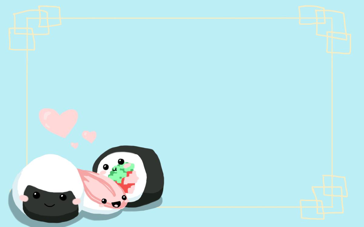 Hình nền PowerPoint cơm nắm và sushi