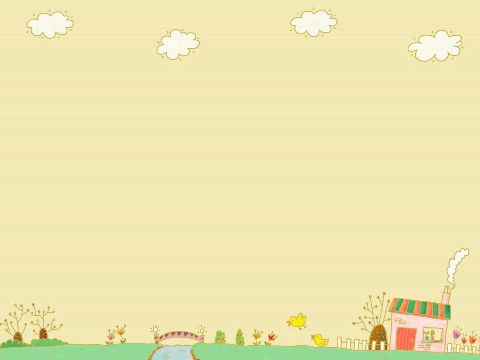 Hình nền PowerPoint dễ thương với ngôi nhà và khu vườn của bé