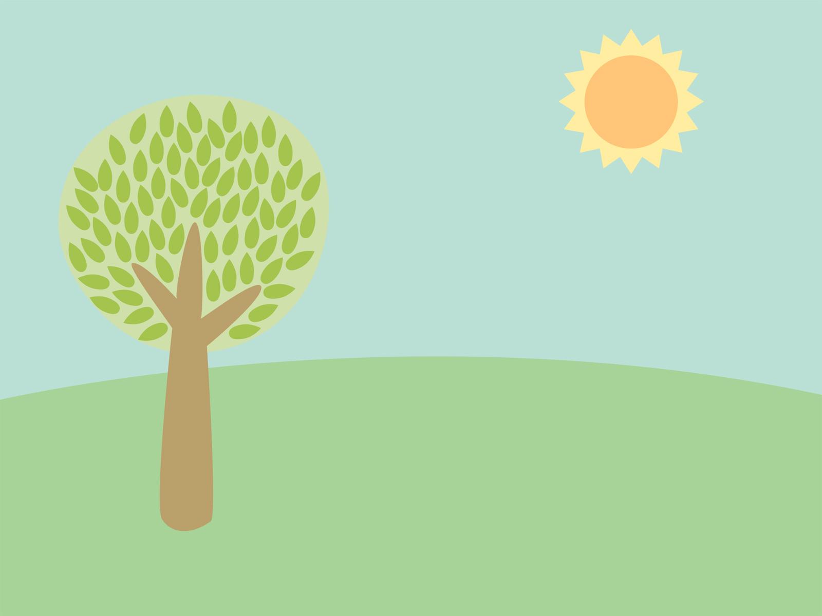 Hình nền PowerPoint đơn giản với cây và mặt trời