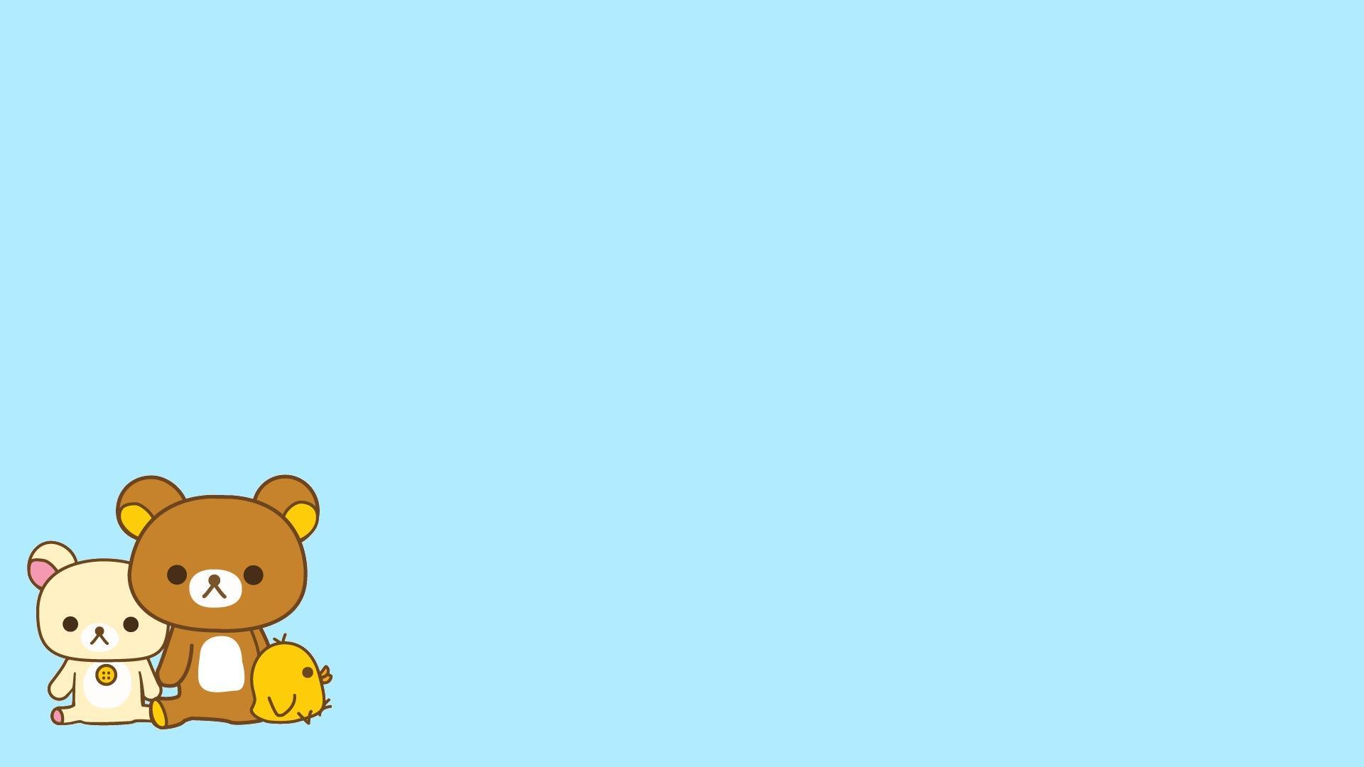 Hình nền PowerPoint đơn giản với chú gấu Rilakkuma