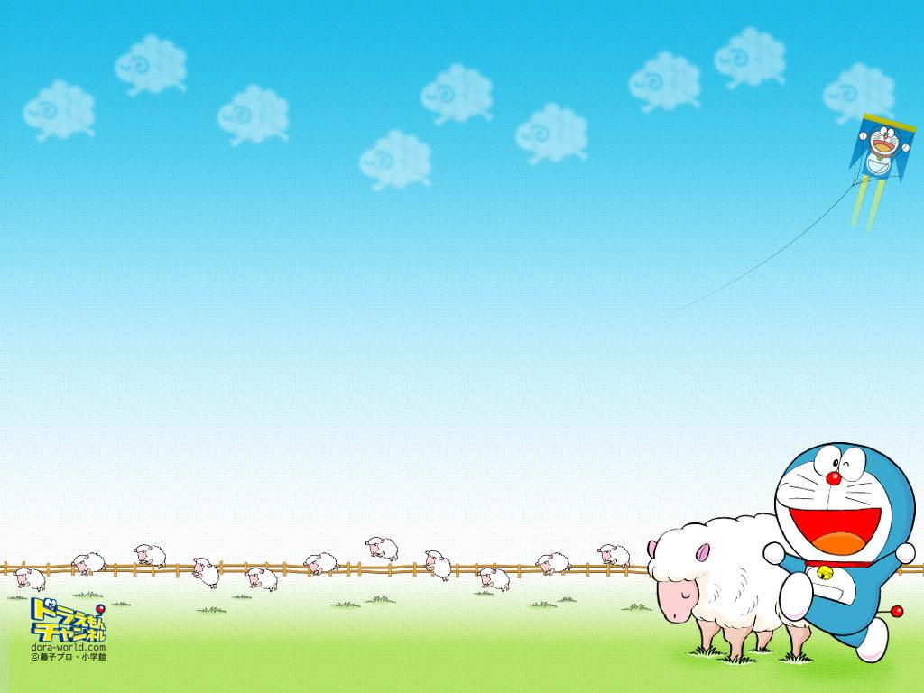 Hình nền PowerPoint Doraemon và những chú cừu