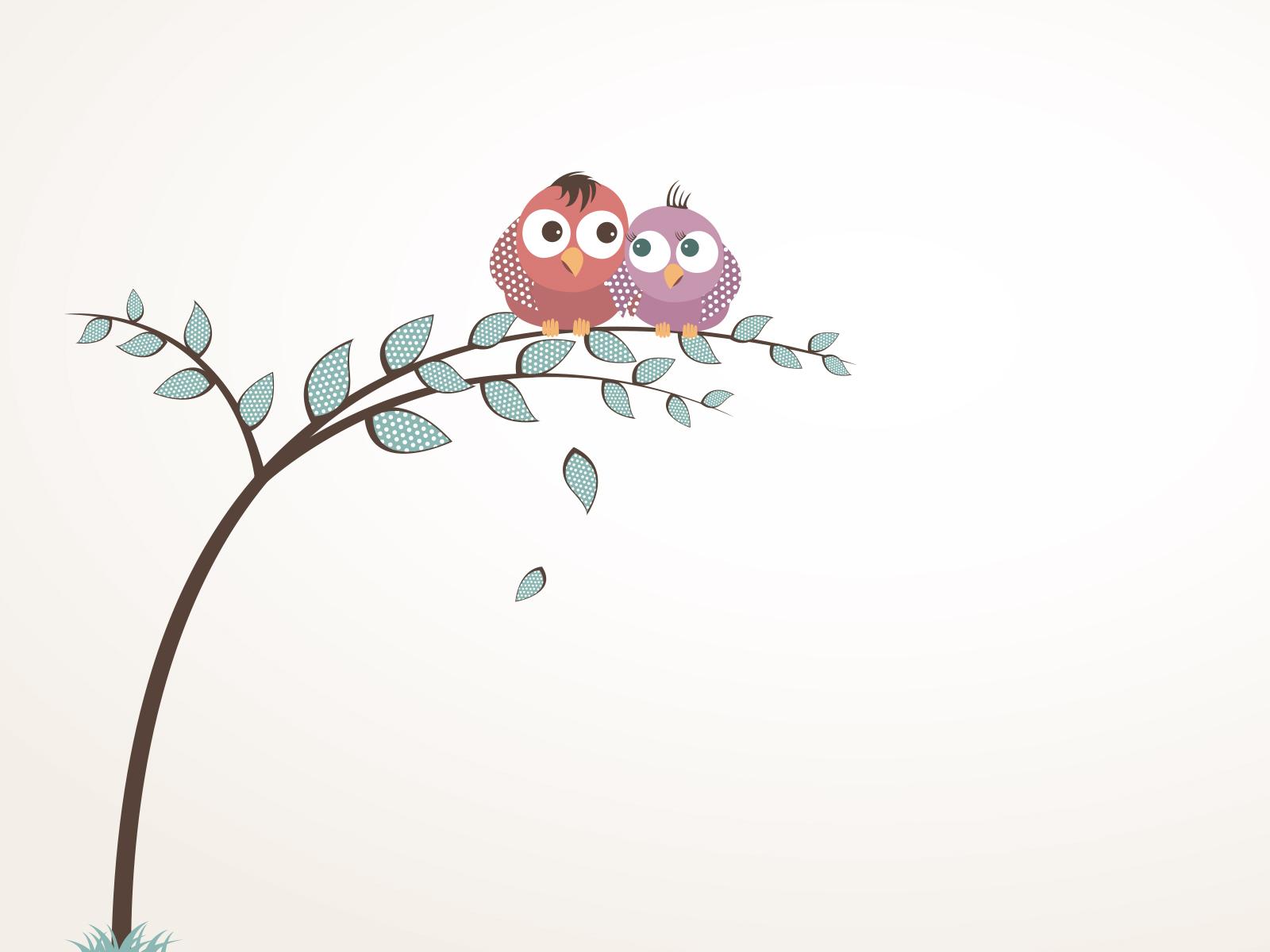 Hình nền PowerPoint hai chú chim dựa vào nhau