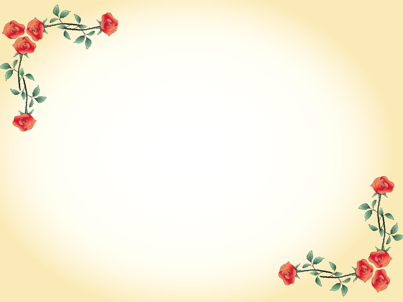 Hình nền PowerPoint những cành hồng trang trí đơn giản