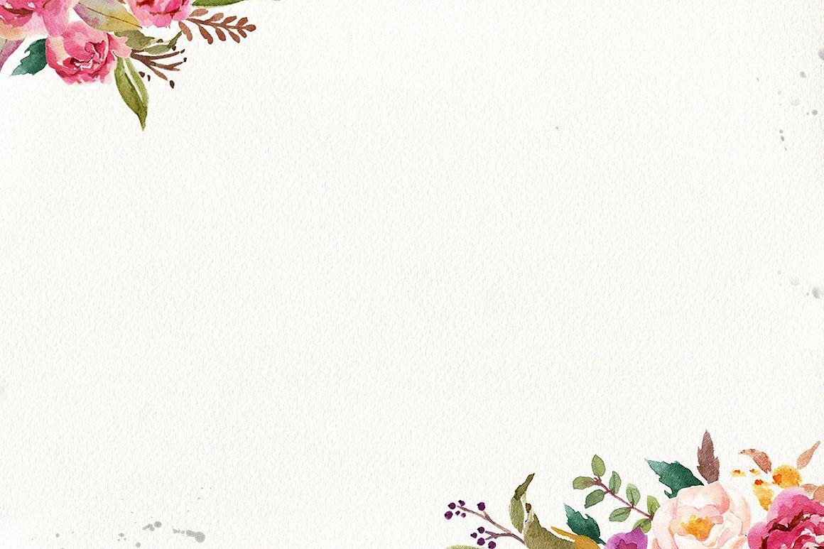 Hình nền PowerPoint những khóm hoa vẽ màu nước rất đẹp