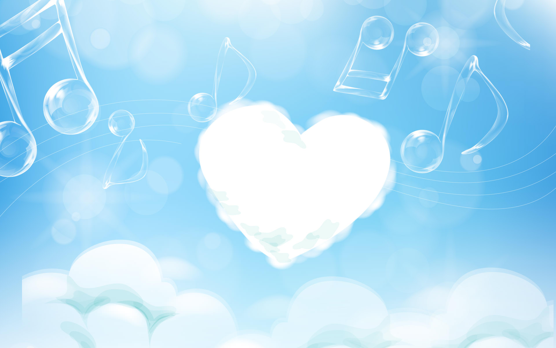 Hình nền PowerPoint trái tim là mây trời