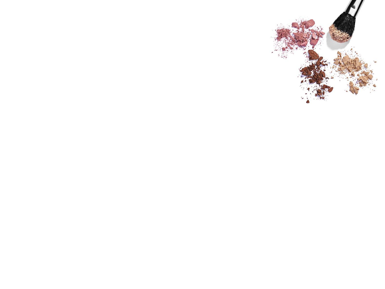 Hình nền PowerPoint với cây cọ và phấn trang điểm